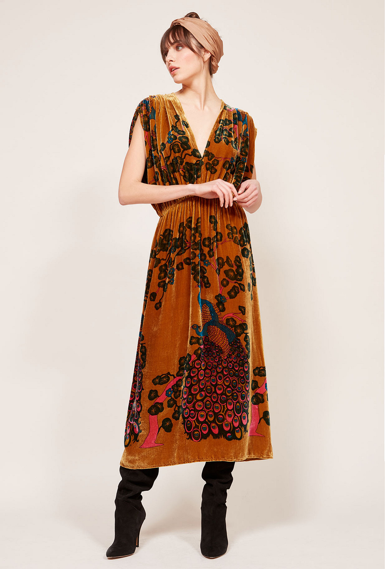 Ocre print  Dress  Plumage Mes demoiselles fashion clothes designer Paris
