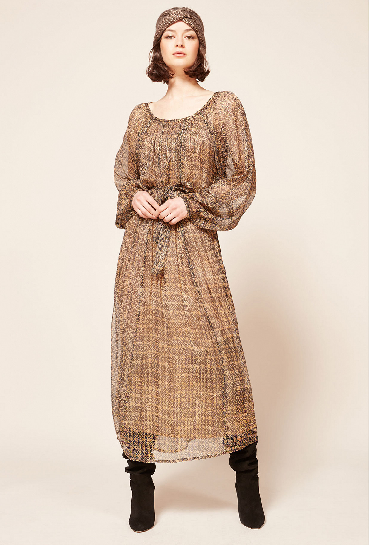 Brown print  Dress  Raissa Mes demoiselles fashion clothes designer Paris