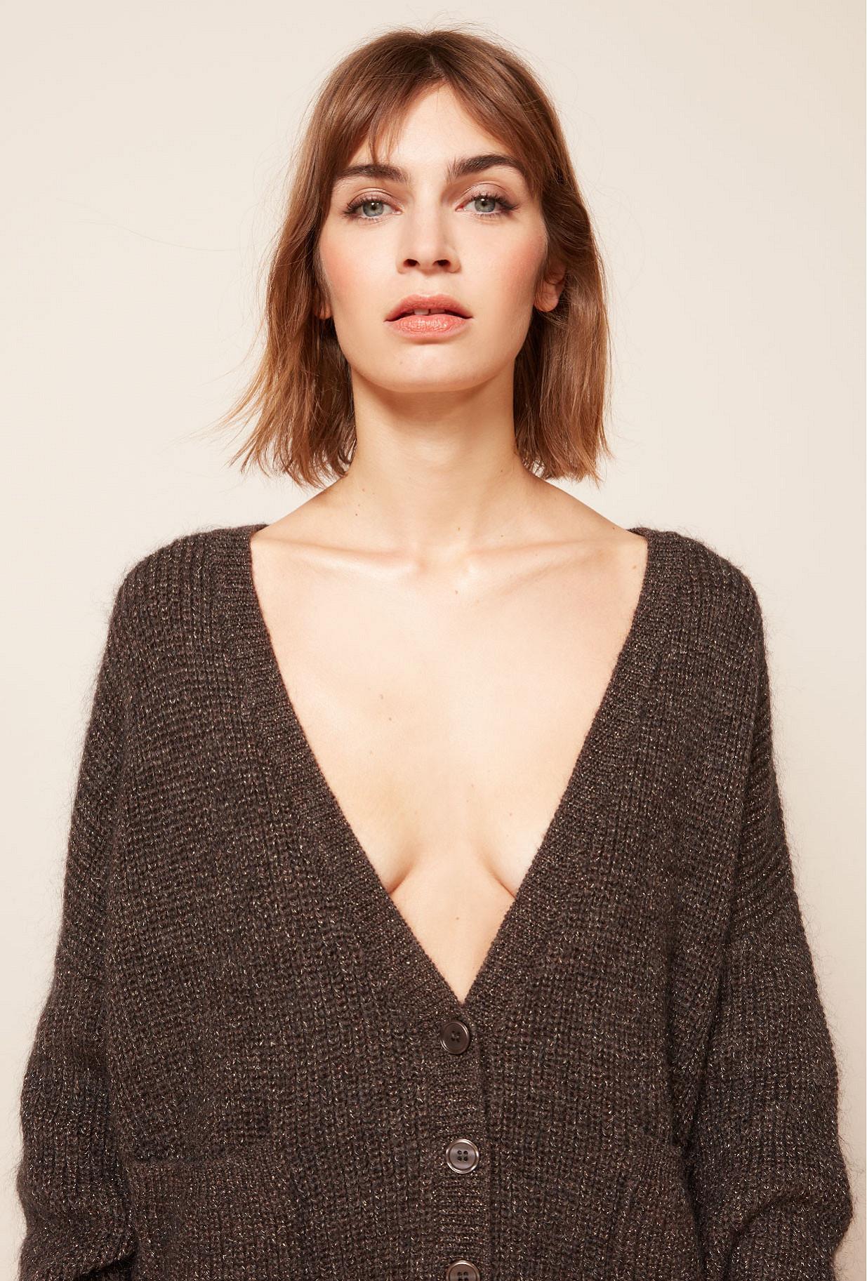 Brown  Cardigan  Sarin Mes demoiselles fashion clothes designer Paris
