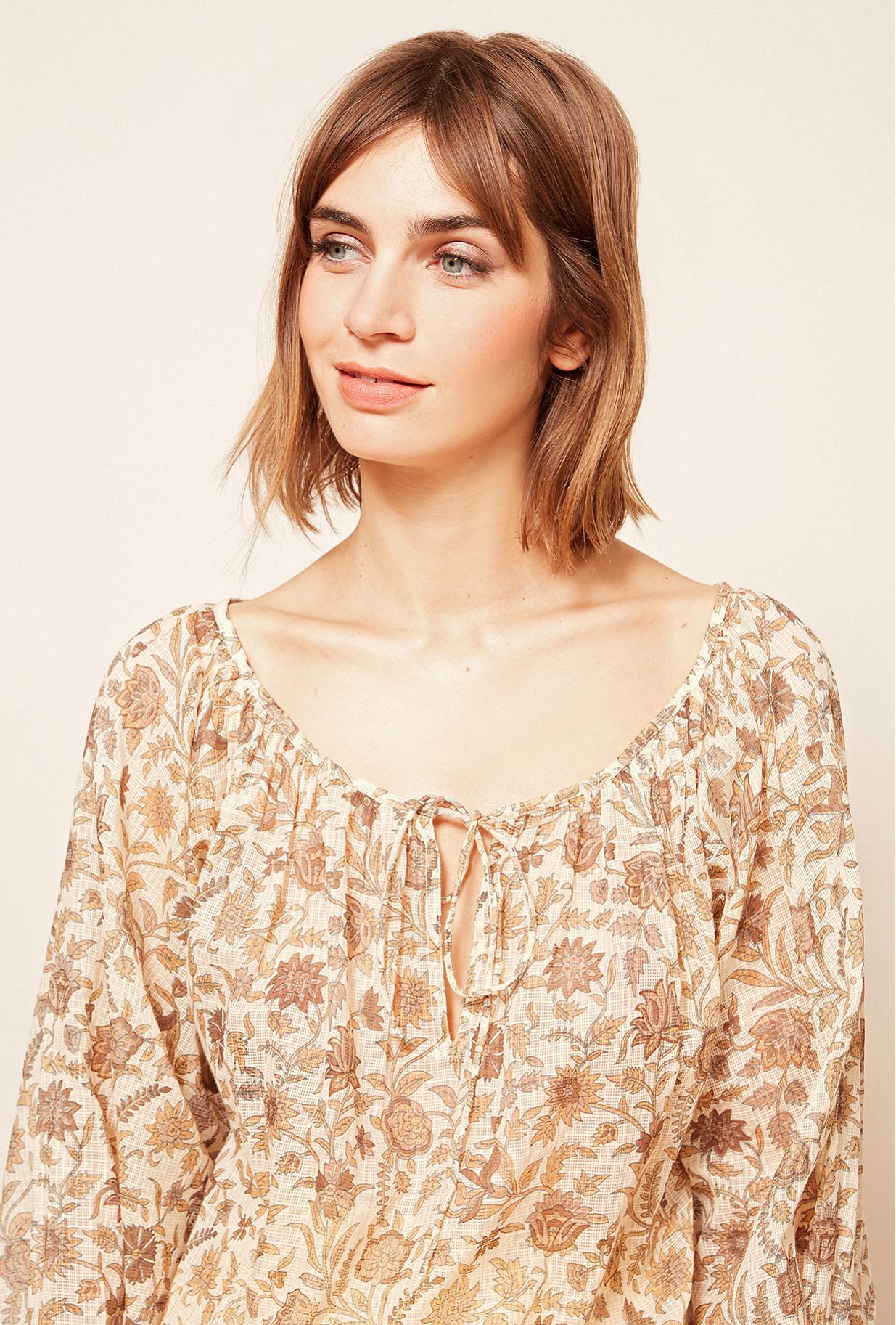 Ocre print  Blouse  Coreo Mes demoiselles fashion clothes designer Paris