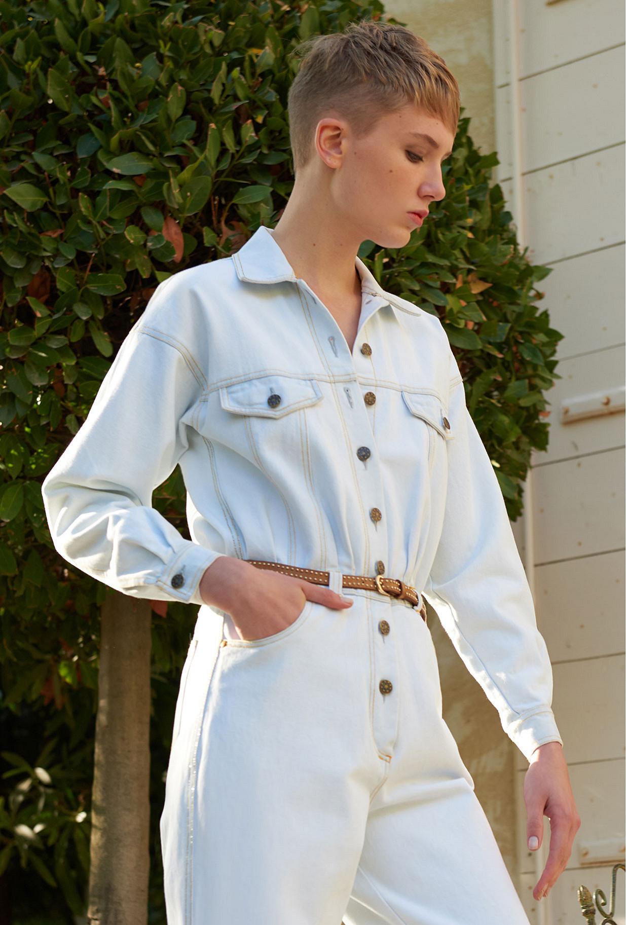 Light blue  Jumpsuit  Cevennes Mes demoiselles fashion clothes designer Paris