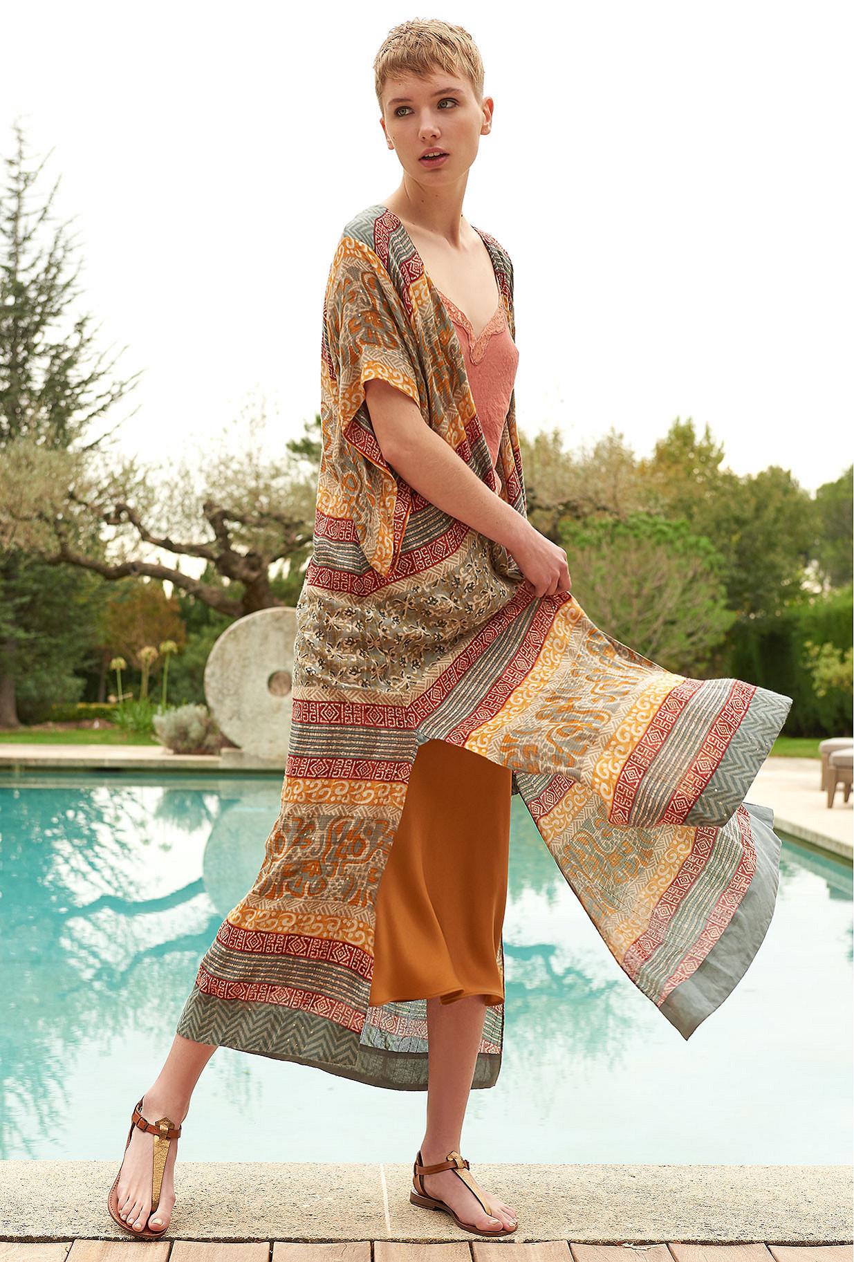 Orange print Kimono Katha