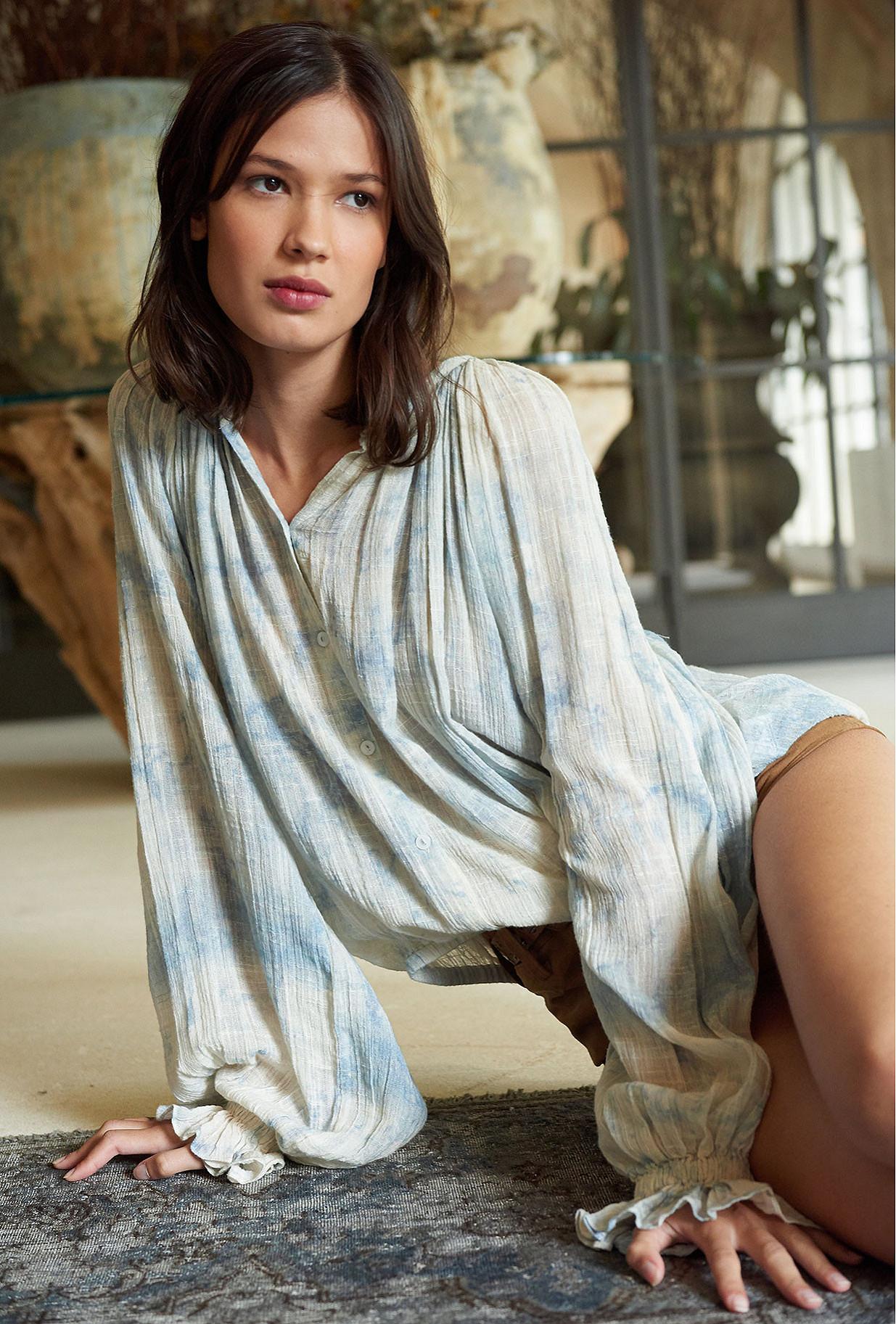 Ice blue  Blouse  Voltige Mes demoiselles fashion clothes designer Paris