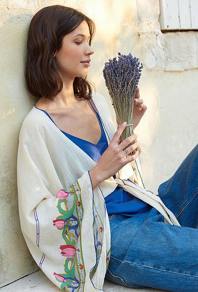 Kimono Imprimé Écru  Conventry mes demoiselles paris vêtement femme paris