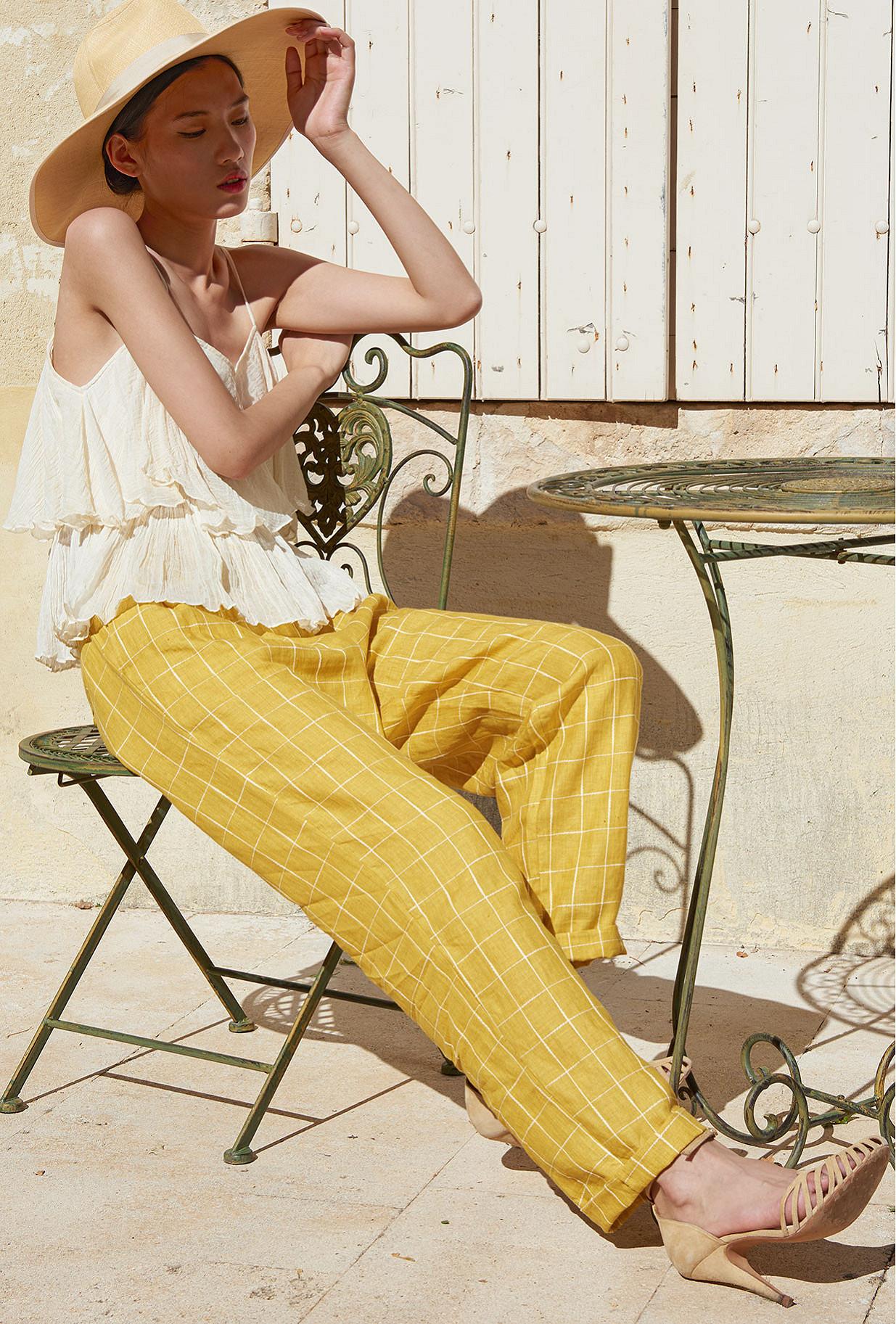 Yellow  Pant  Calypso Mes demoiselles fashion clothes designer Paris