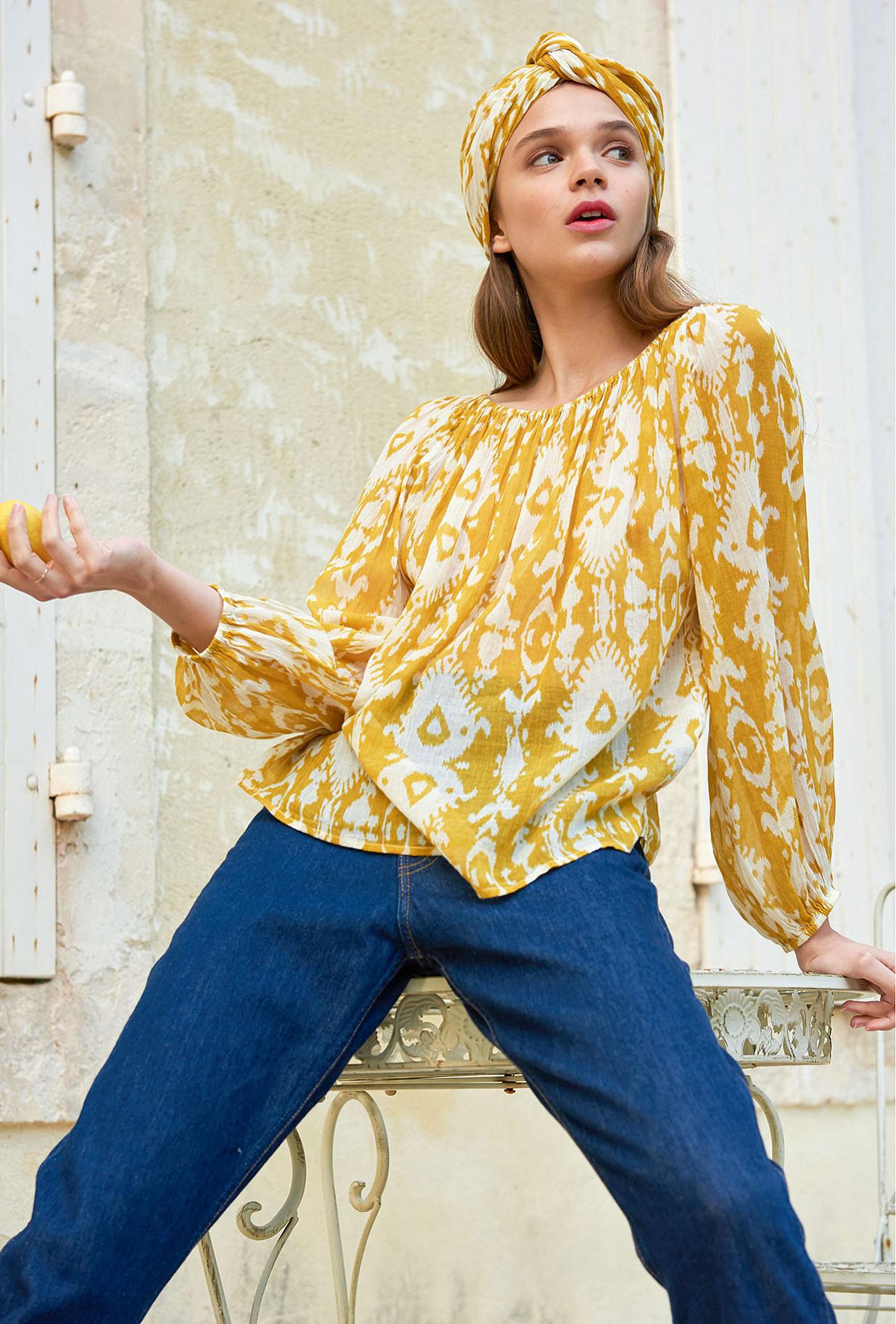 Yellow print  Top  Sonde Mes demoiselles fashion clothes designer Paris