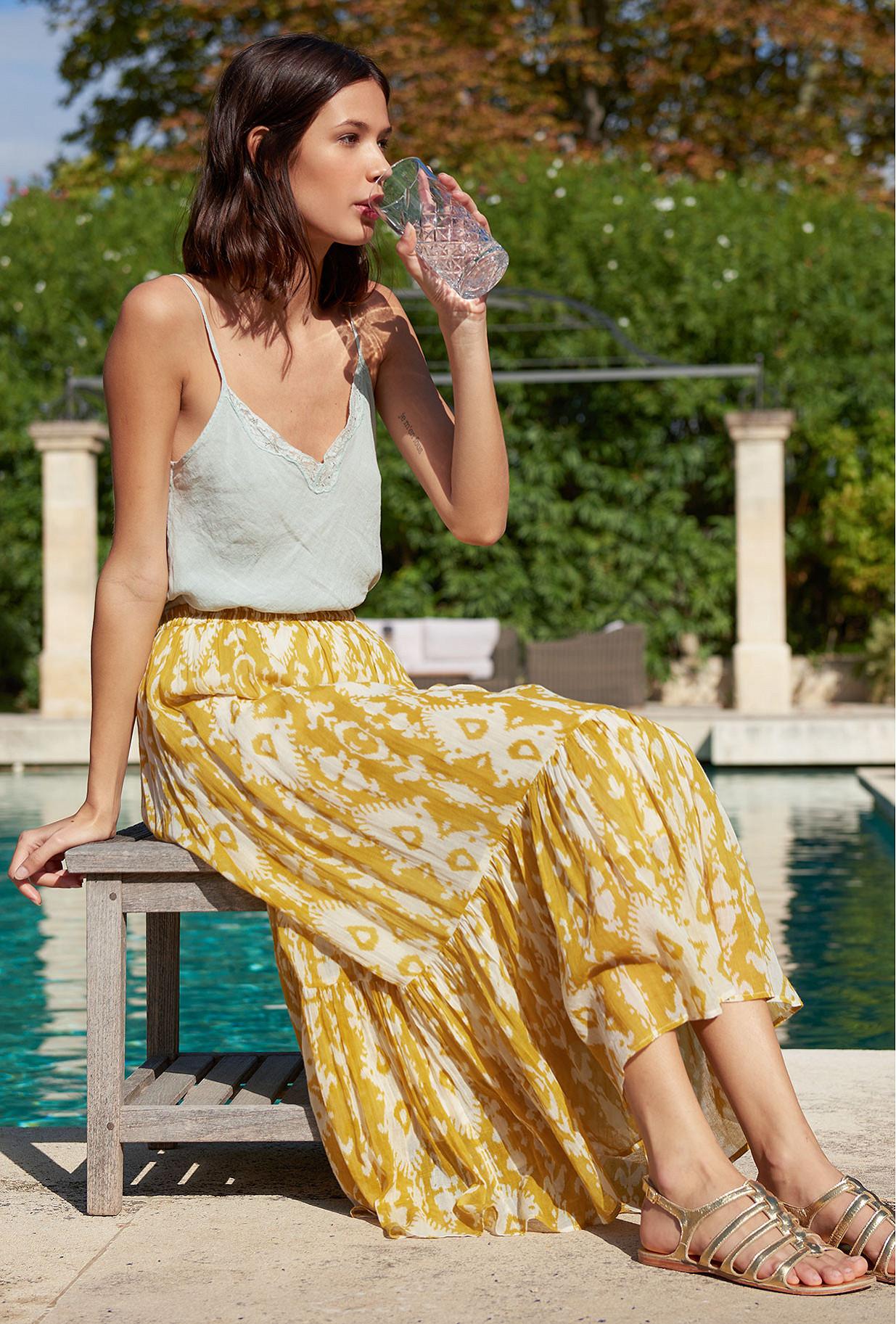 Yellow print  Skirt  Sumatra Mes demoiselles fashion clothes designer Paris