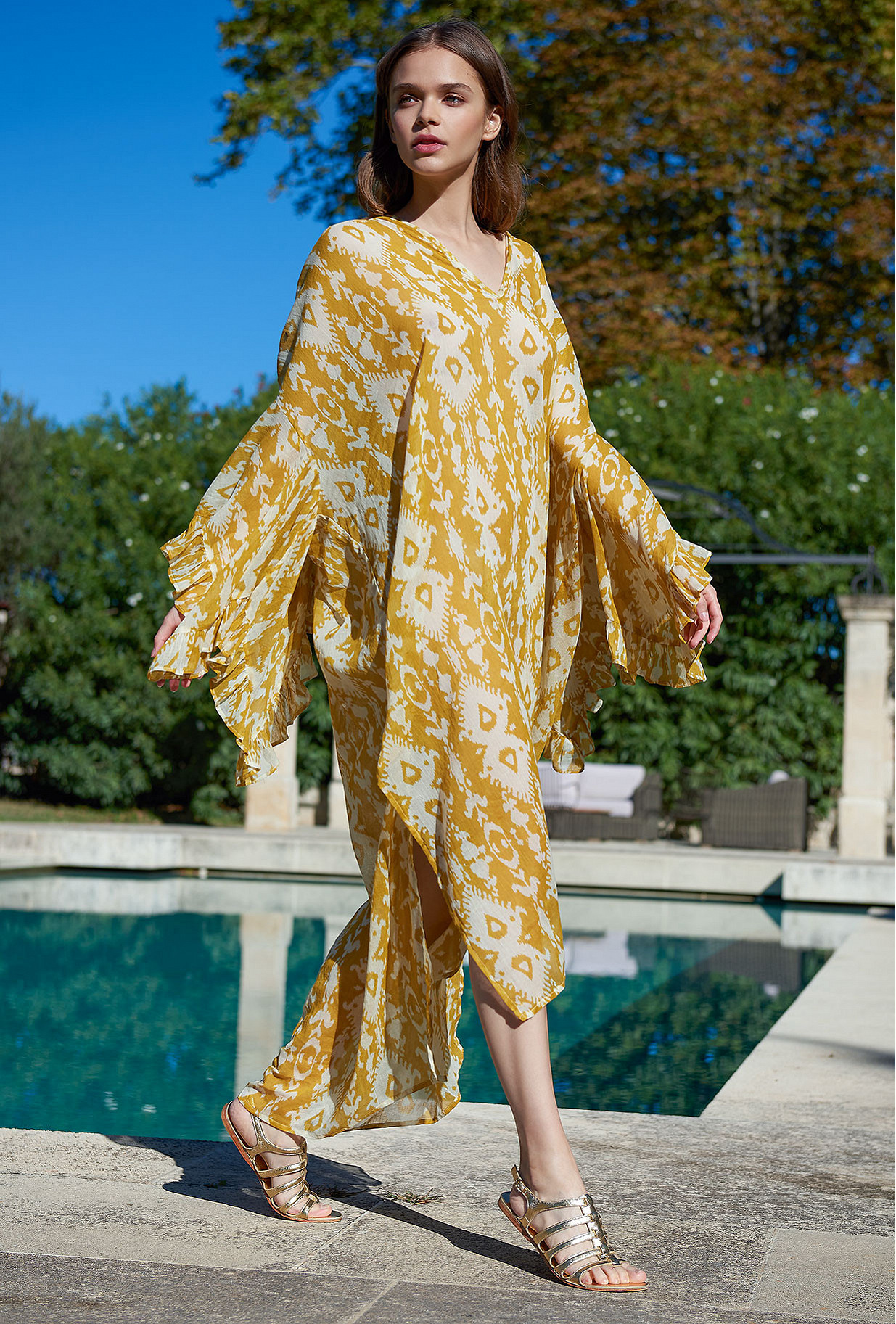 Yellow print  Dress  Sybille Mes demoiselles fashion clothes designer Paris