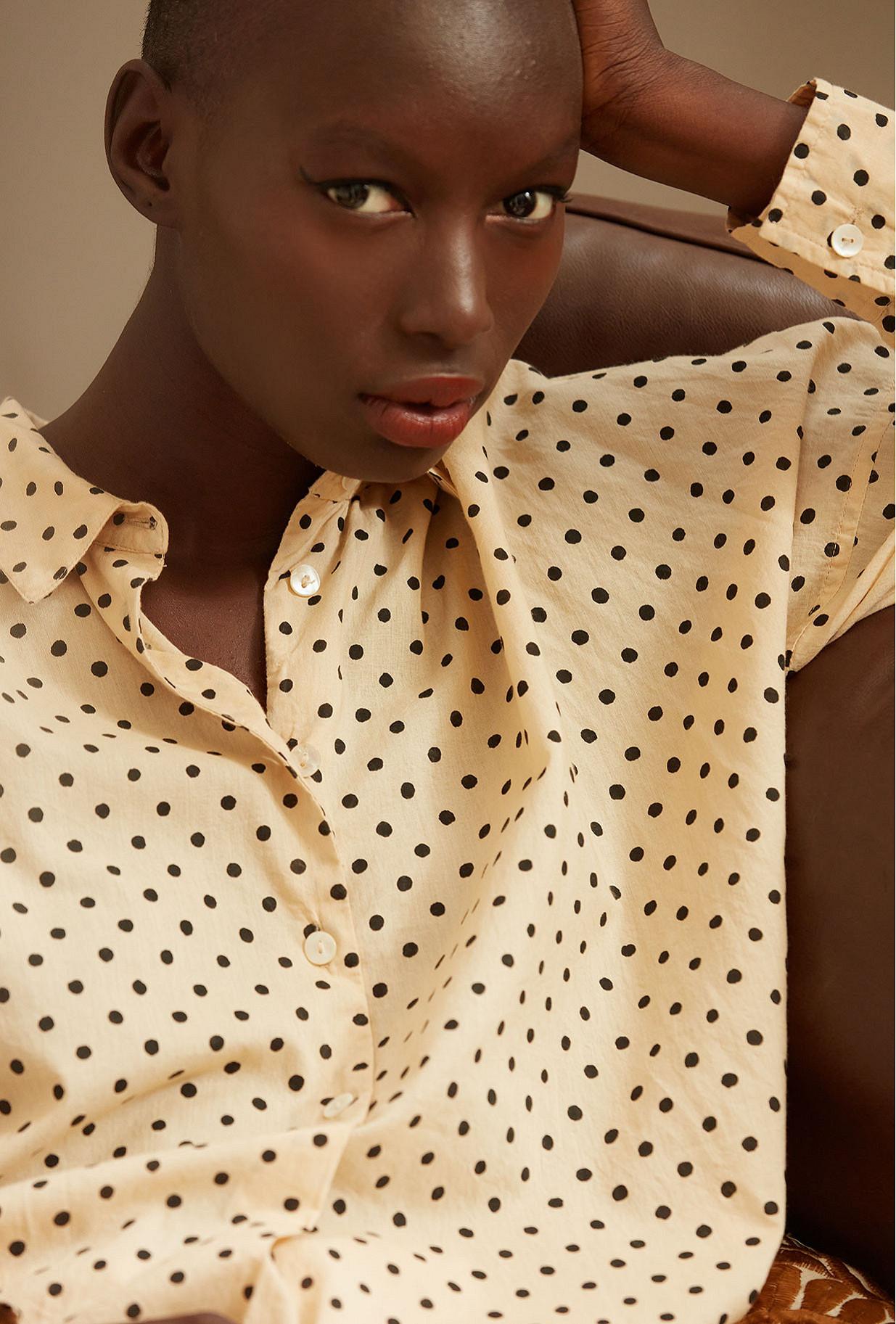 Beige black  Shirt  Chaplin Mes demoiselles fashion clothes designer Paris