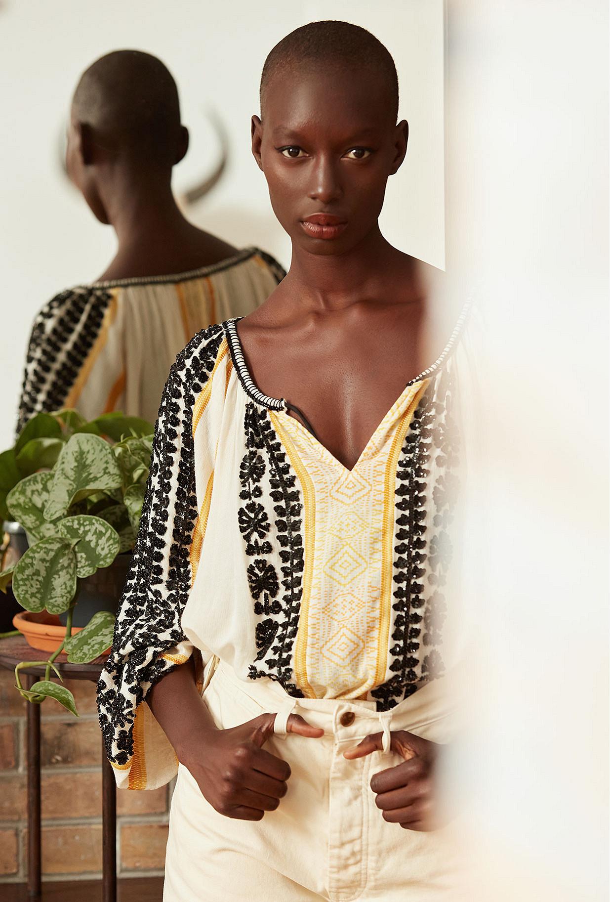 Ecru combo  Blouse  Constanta Mes demoiselles fashion clothes designer Paris