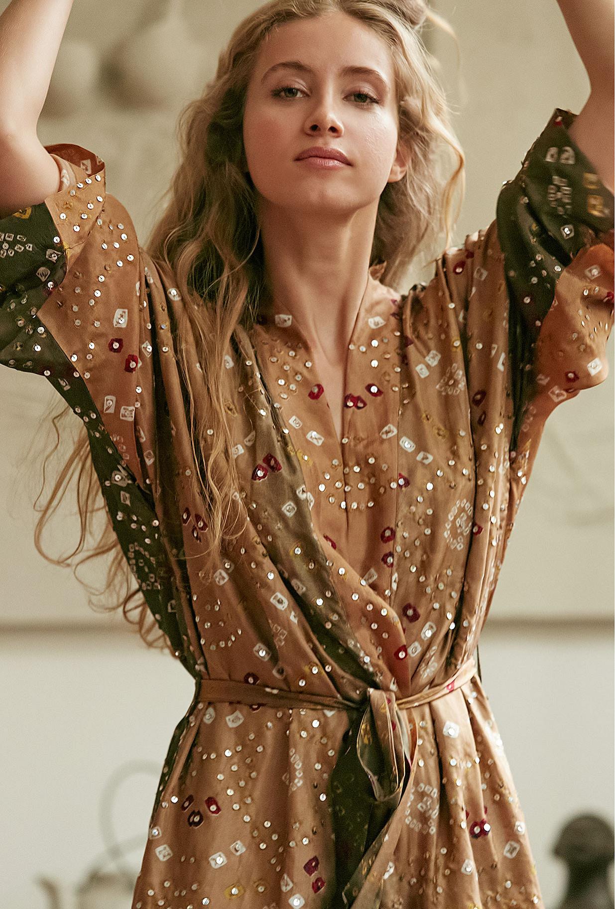 Khaki print Kimono Crersus Mes Demoiselles Paris