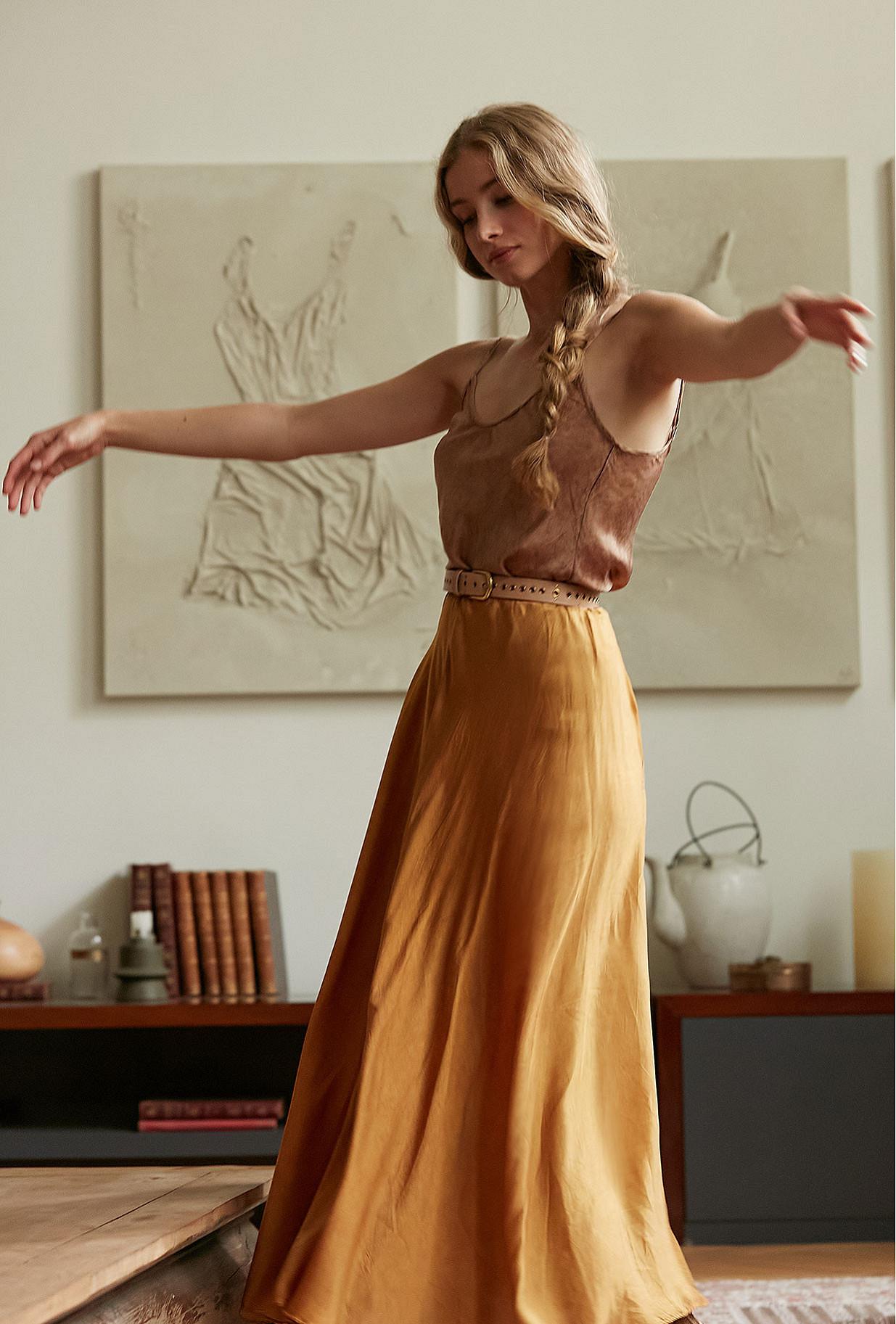 Ocre  Skirt  Libre Mes demoiselles fashion clothes designer Paris