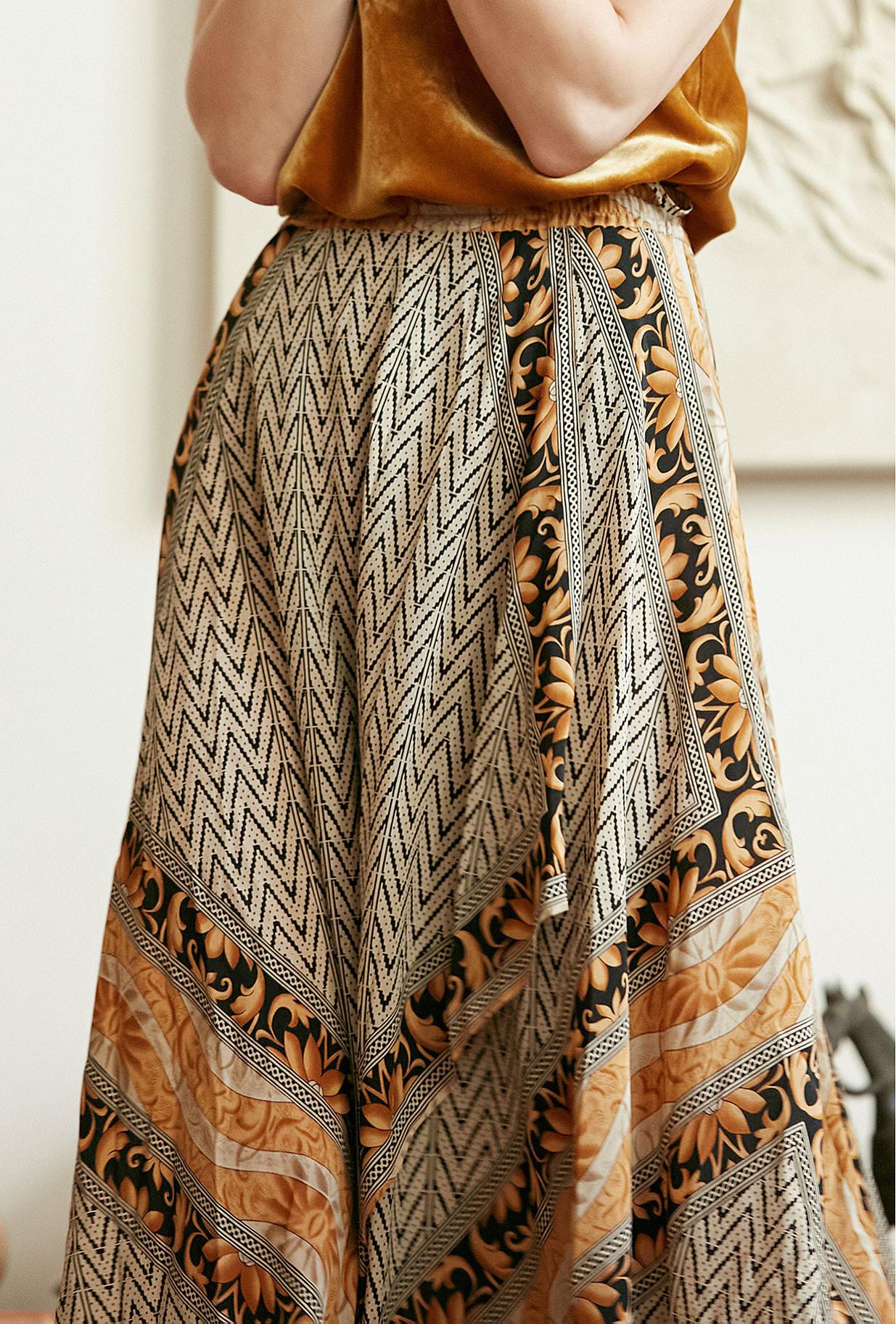 Gold print  Skirt  Shorebreak Mes demoiselles fashion clothes designer Paris