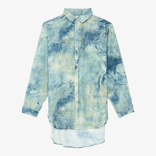 Shirt Suede Mes Demoiselles color - Blue print -