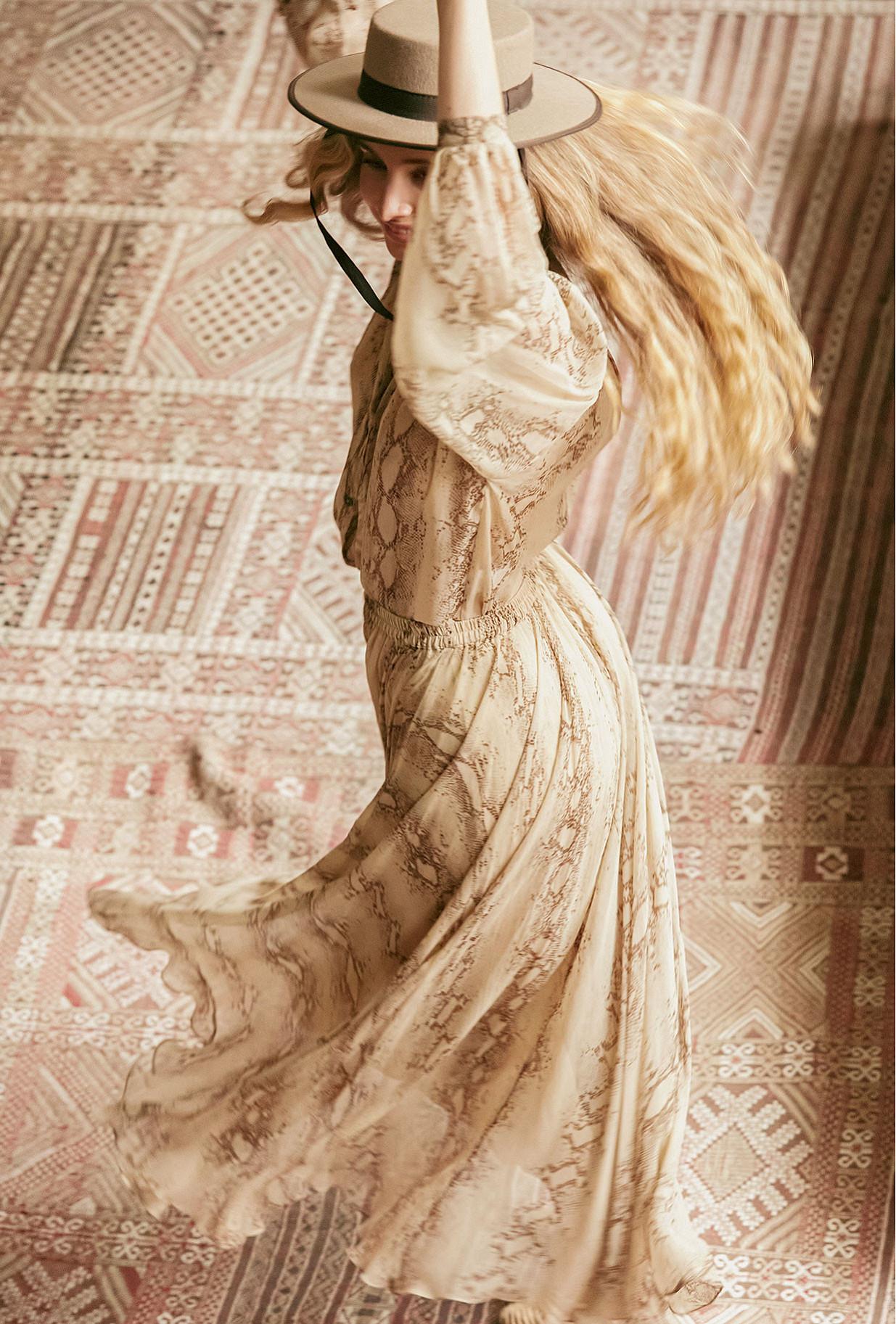 Beige print  Skirt  Peliade Mes demoiselles fashion clothes designer Paris