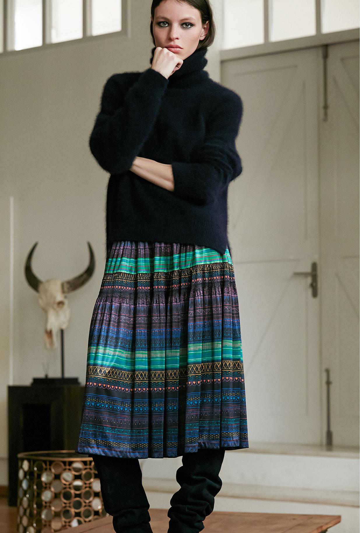Purple print  Skirt  Mona Mes demoiselles fashion clothes designer Paris
