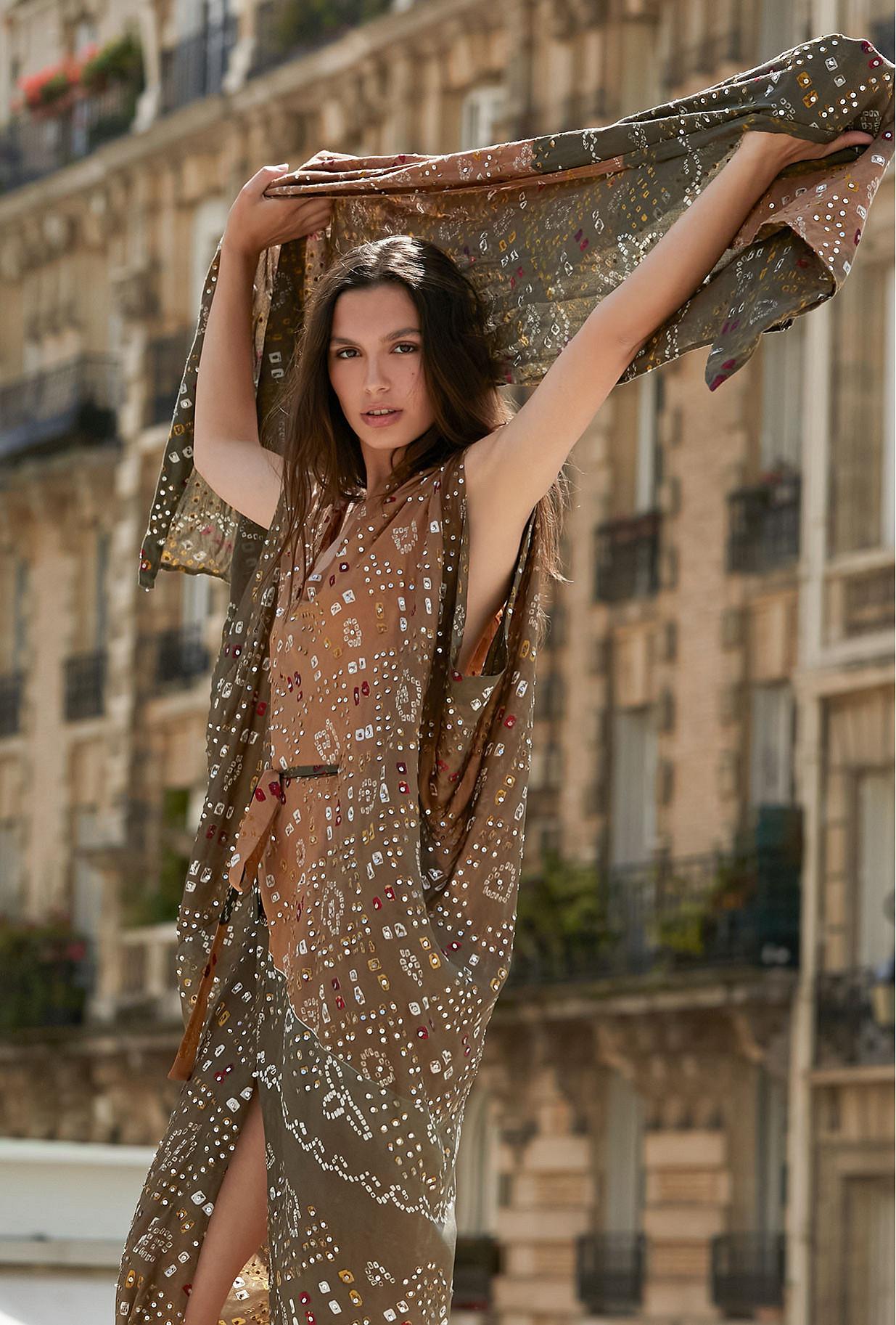 Khaki print Scarf Noumane Mes Demoiselles Paris