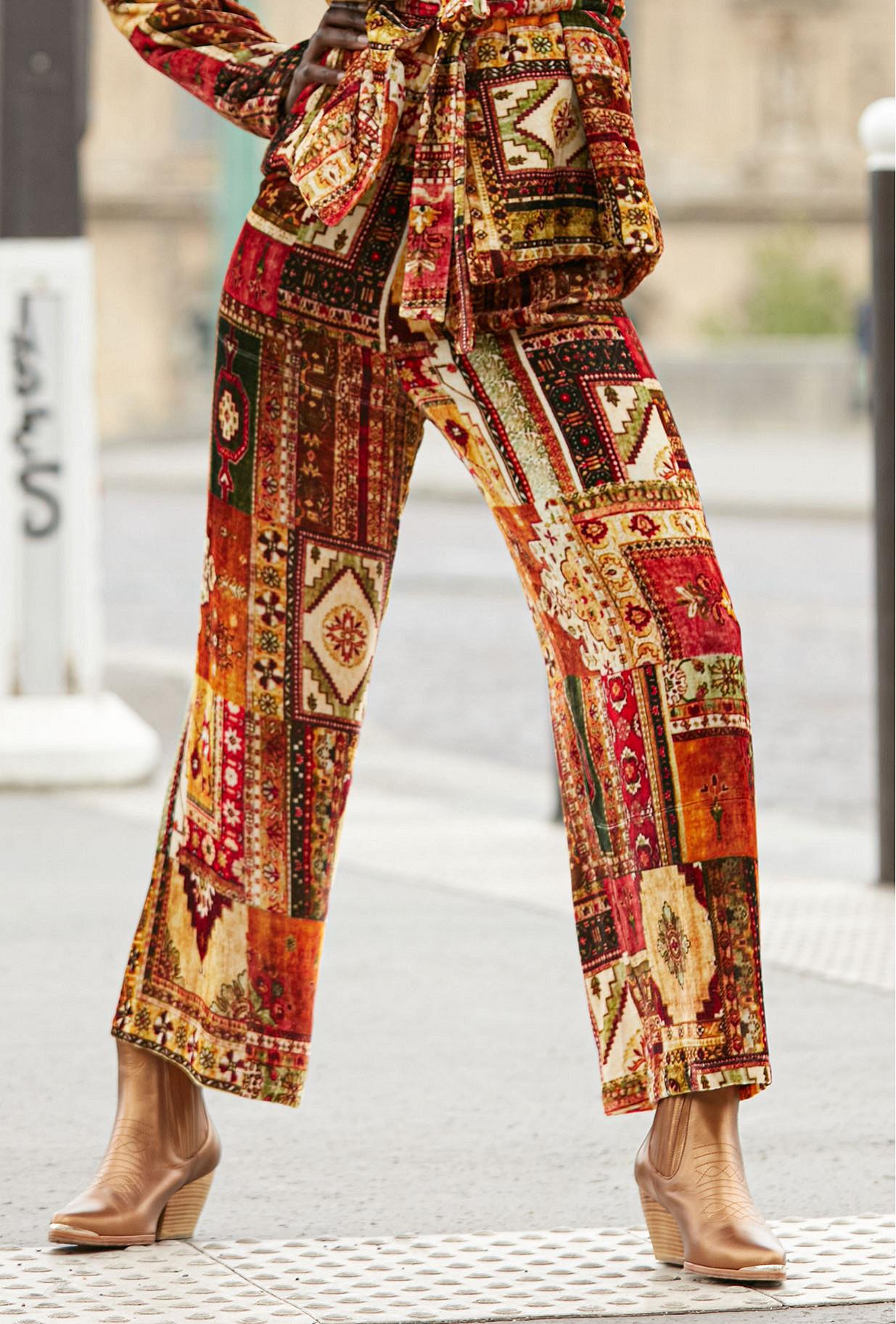 Pant Baloutche Mes Demoiselles color - red print -
