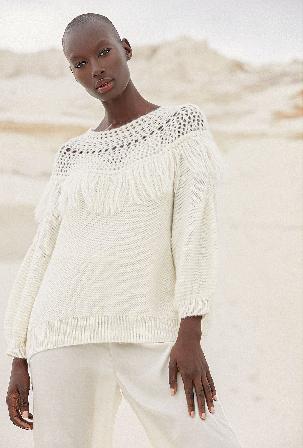 Sweater Pachamama Mes Demoiselles color Ivory