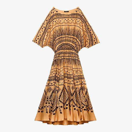 Dress Amitola Mes Demoiselles color Ocre print