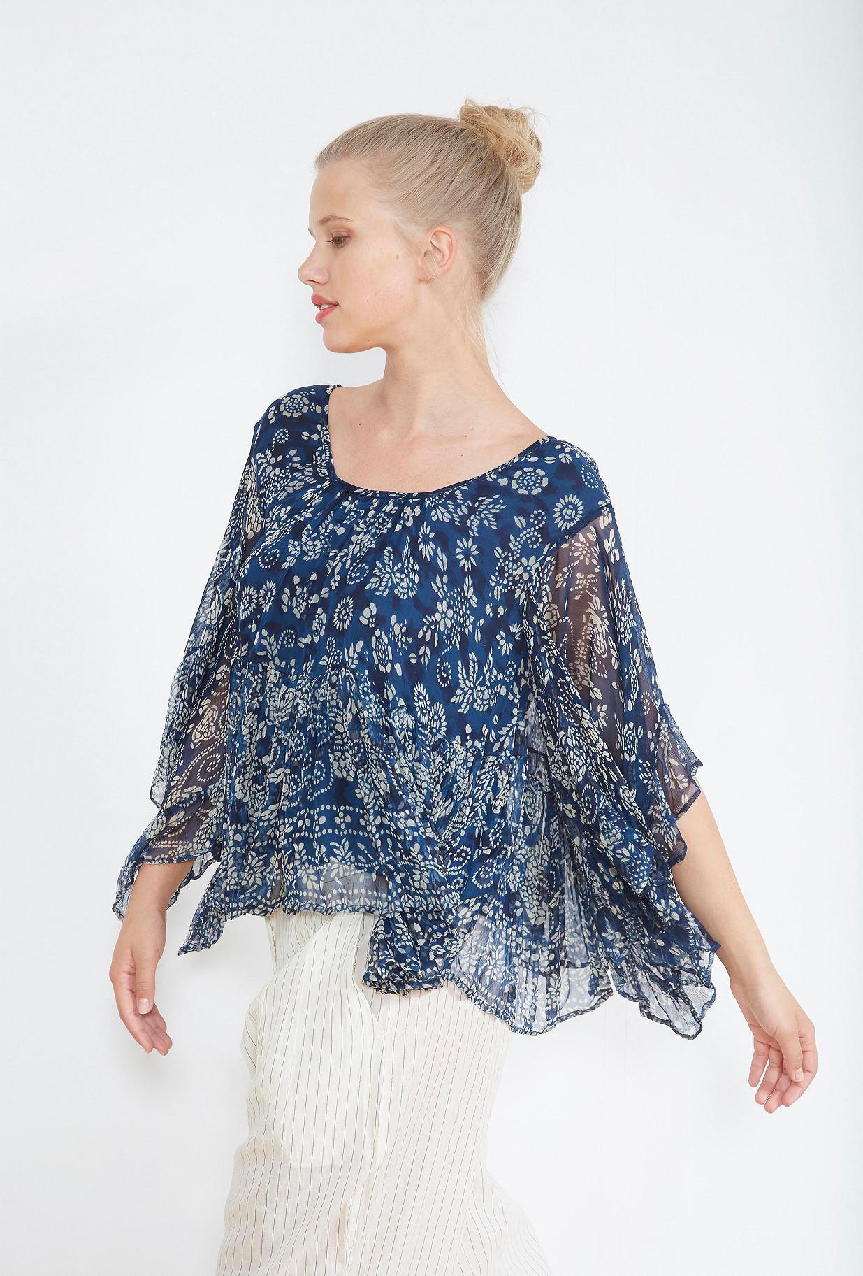 Blue print  BLOUSE  Barito Mes demoiselles fashion clothes designer Paris