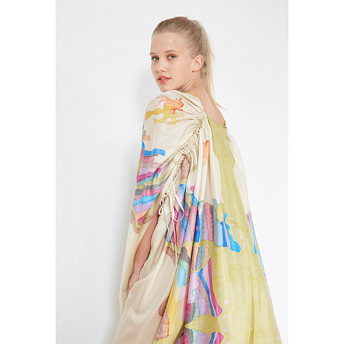 Ecru print  PONCHO  Sumatra Mes demoiselles fashion clothes designer Paris