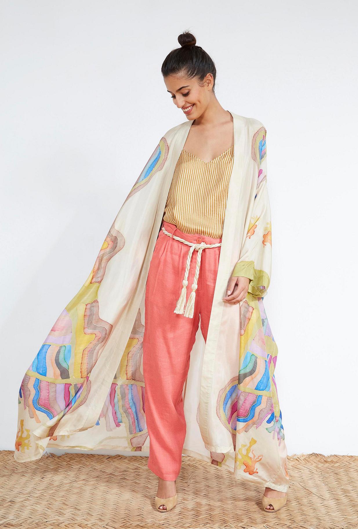 KIMONO Imprimé écru  Soumaya mes demoiselles paris vêtement femme paris
