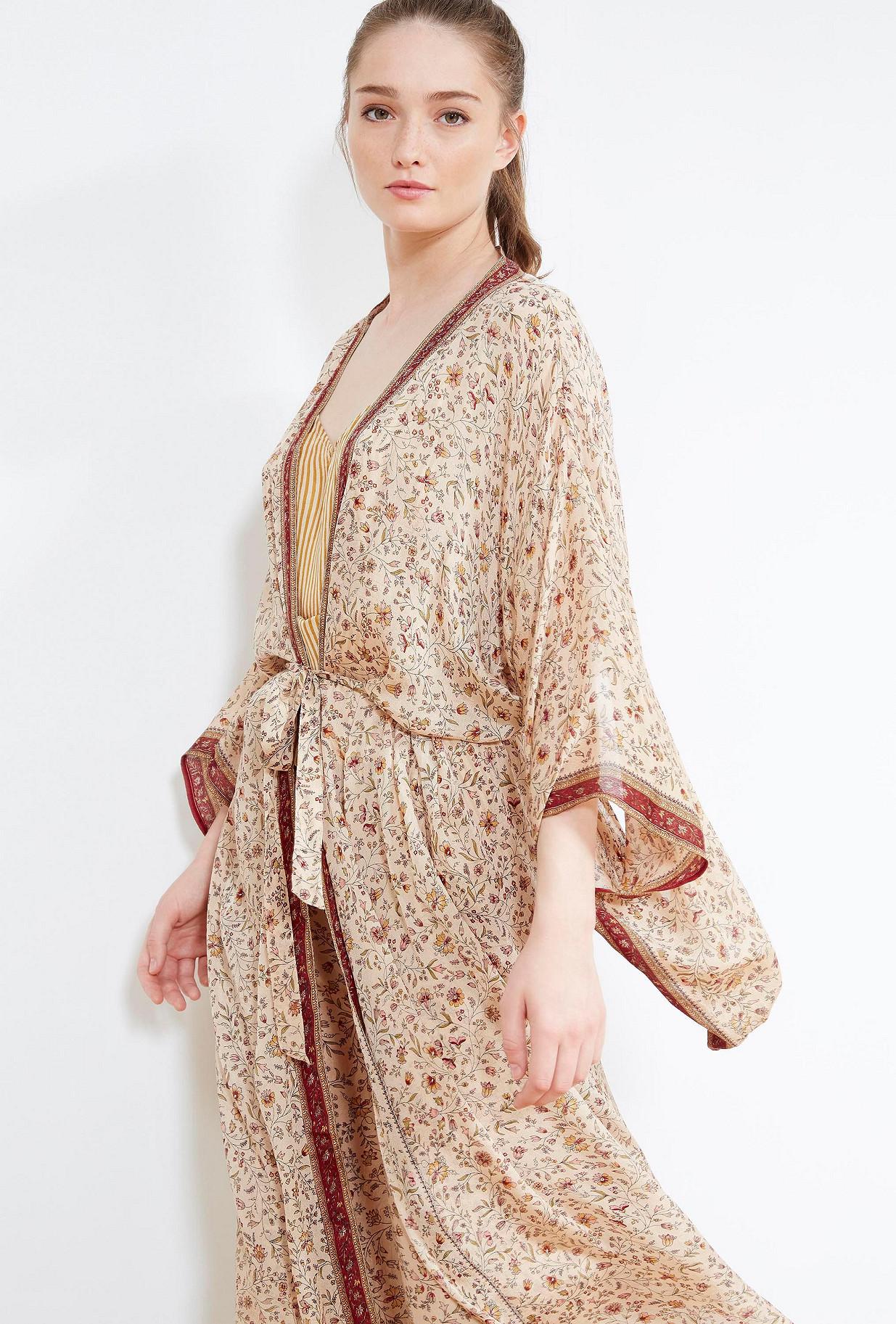 Kimono Femme Soie Simple Edarter Soie Paon Fleur Robe De Chambre