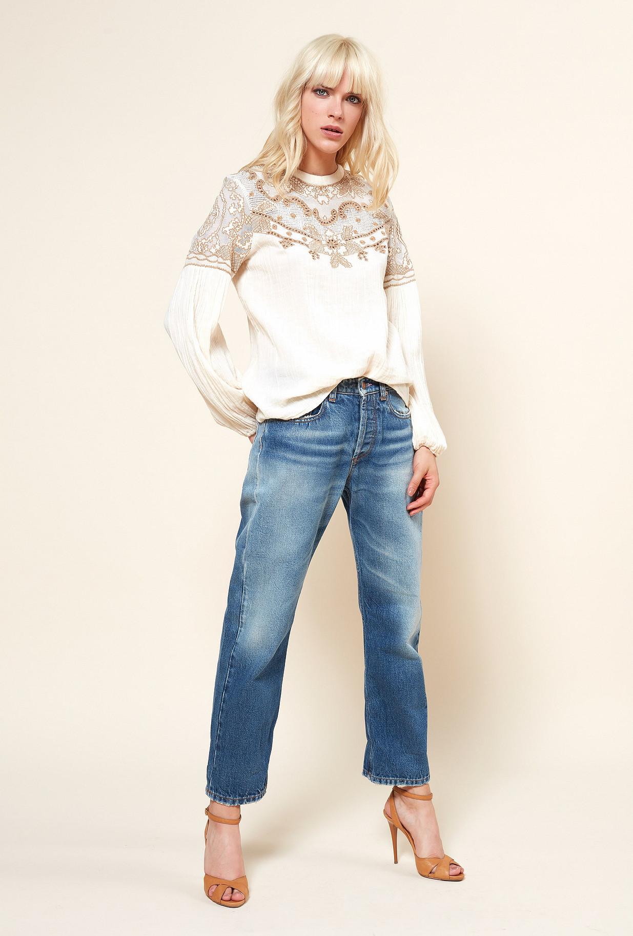 Cream print  Blouse  Meridienne Mes demoiselles fashion clothes designer Paris