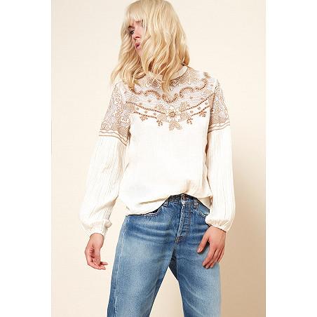 clothes store BLOUSE  Embroidered Blouse Meridienne 100% Cotton french designer fashion Paris