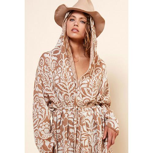 MANTEAU Yetha Mes Demoiselles coloris Imprimé camel