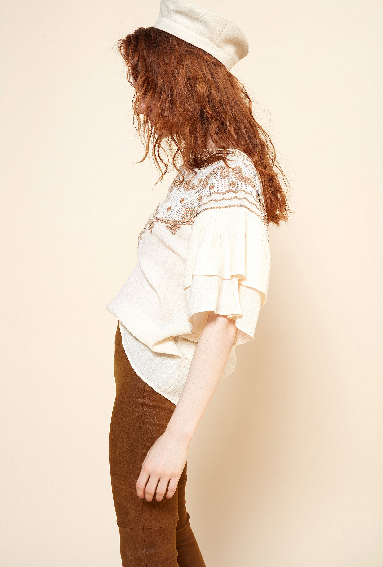 Cream print Blouse Melodie