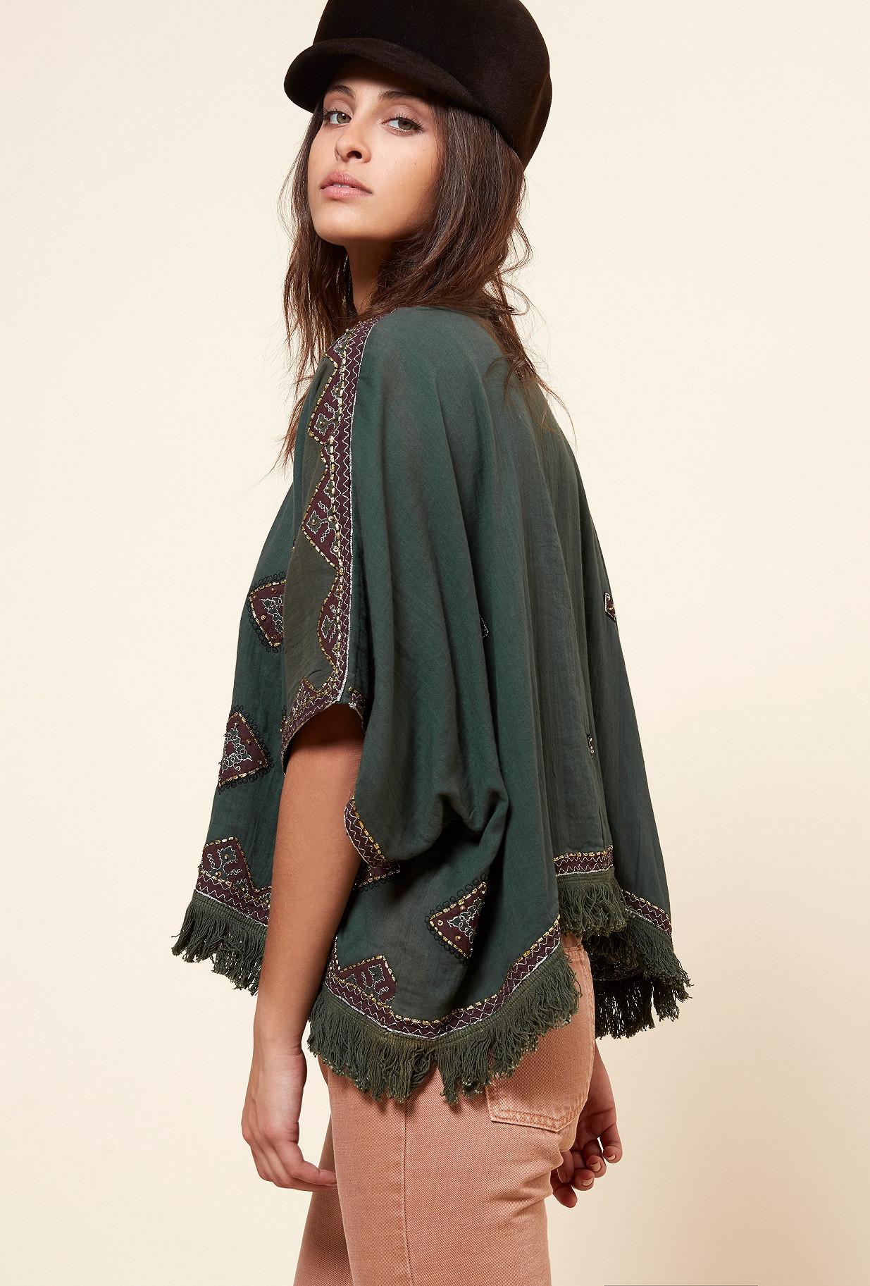 Green  PONCHO  Zakarie Mes demoiselles fashion clothes designer Paris
