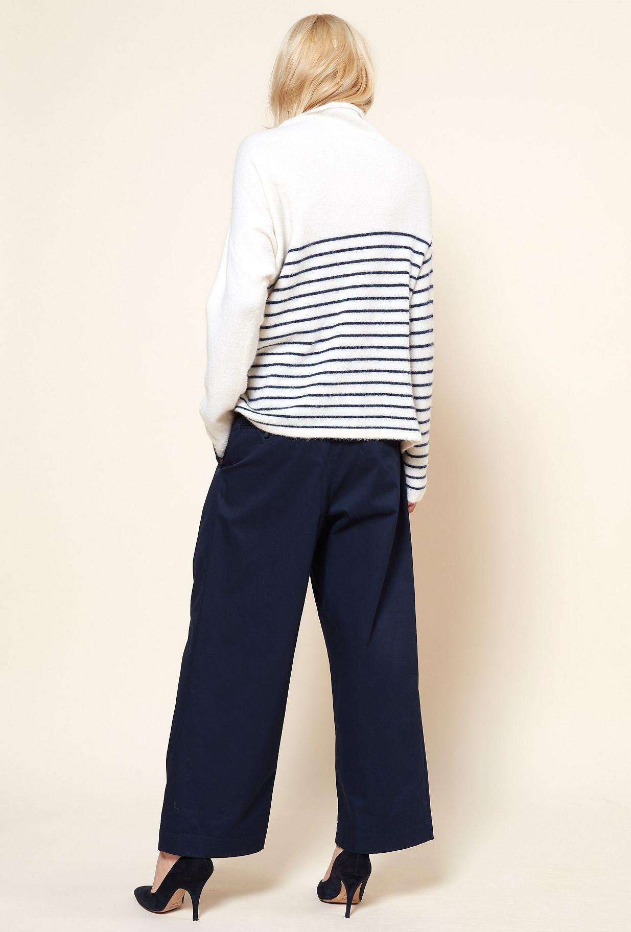 Ecru stripe  Knit  Kersauson Mes demoiselles fashion clothes designer Paris