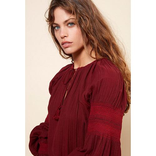 Blouse Tircis Mes Demoiselles coloris Rouge