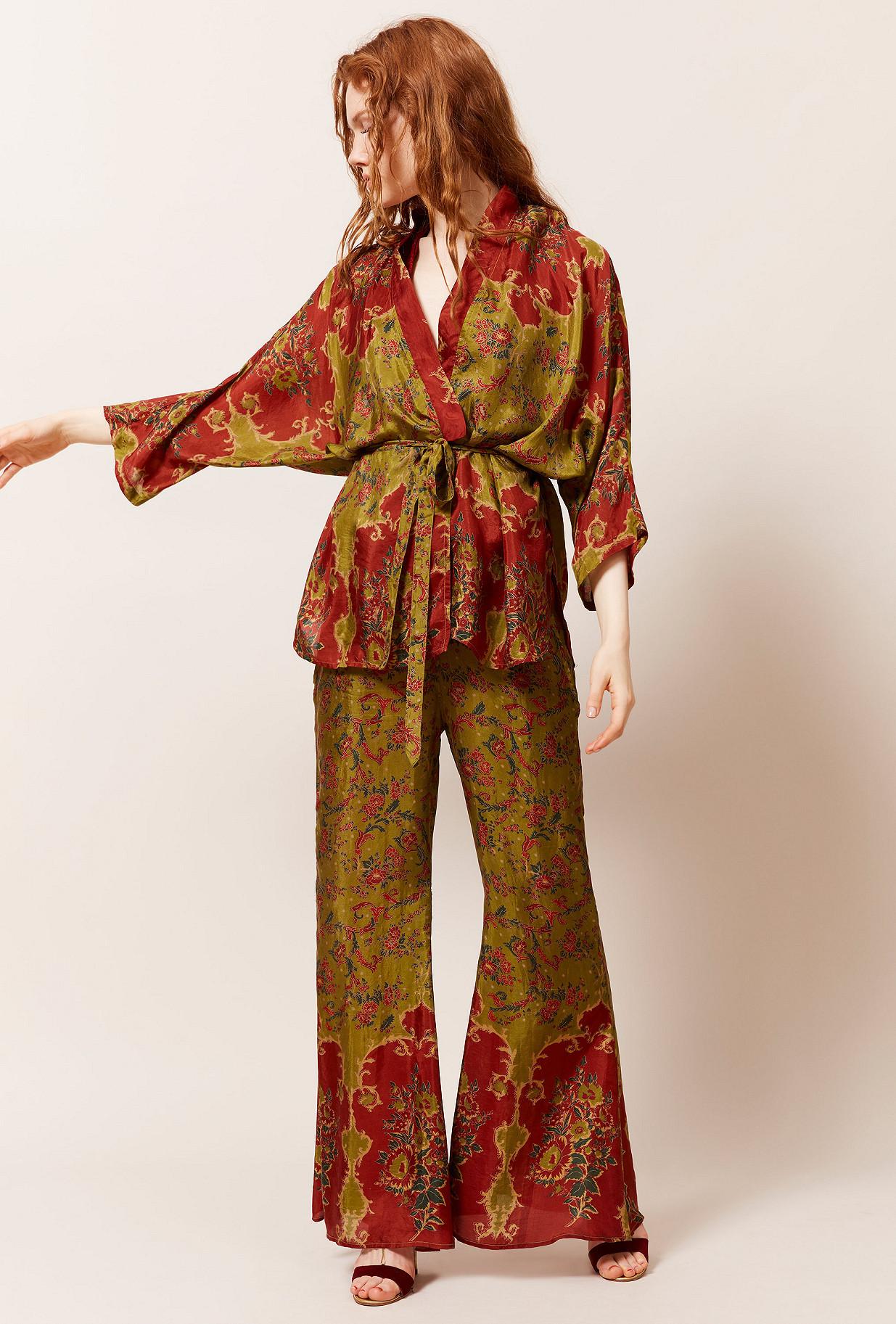 Kimono Imprimé vert  Davince mes demoiselles paris vêtement femme paris