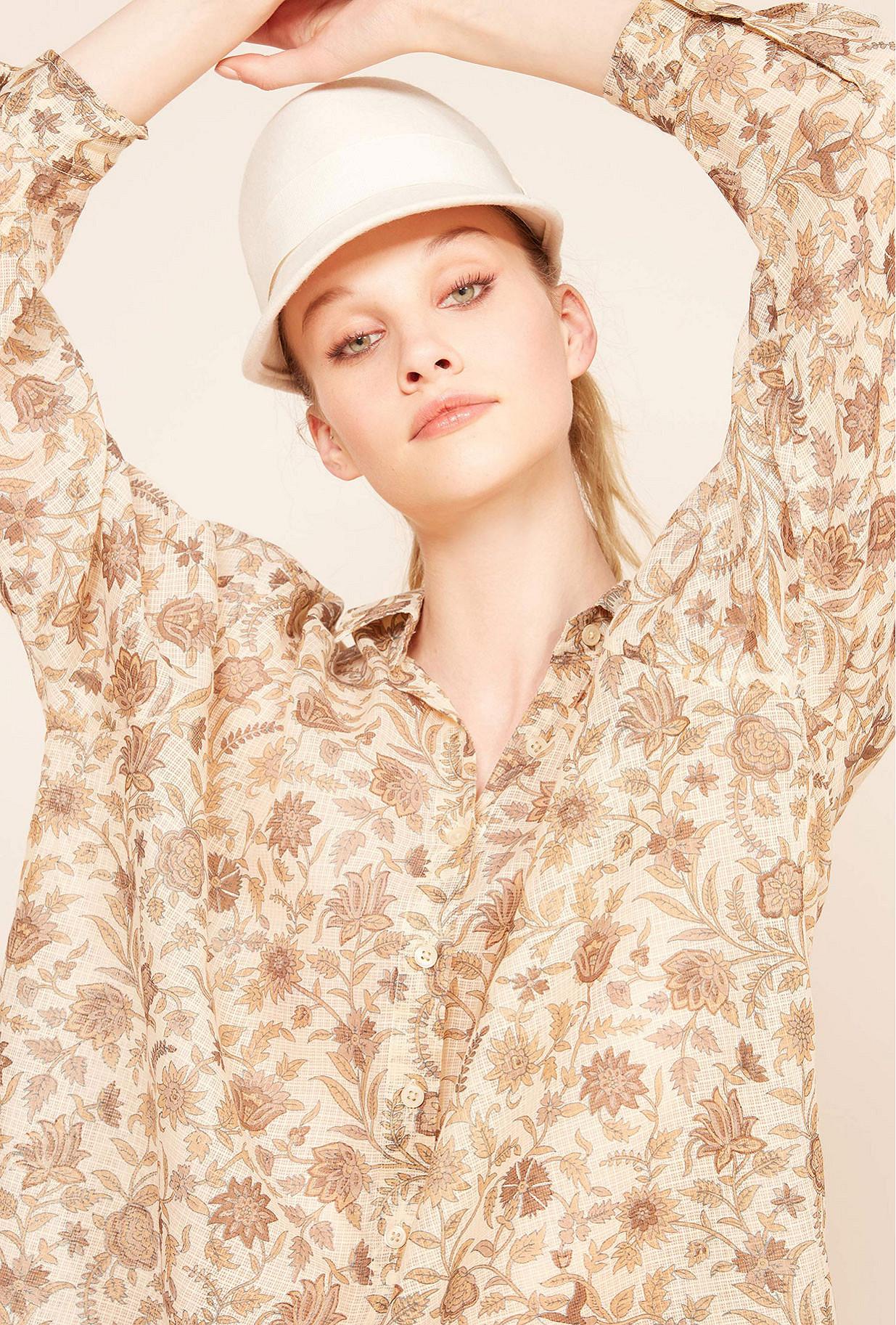 Ocre print  Shirt  Chrysan Mes demoiselles fashion clothes designer Paris