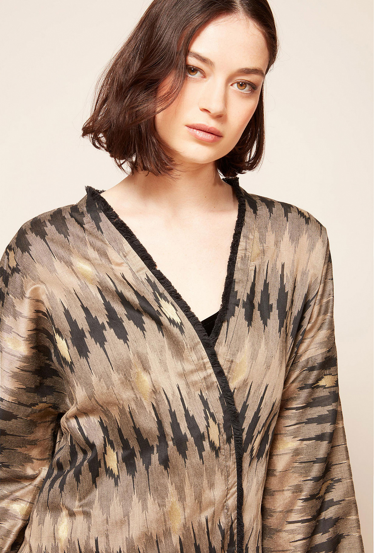 Grey print  Kimono  Jimbaram Mes demoiselles fashion clothes designer Paris