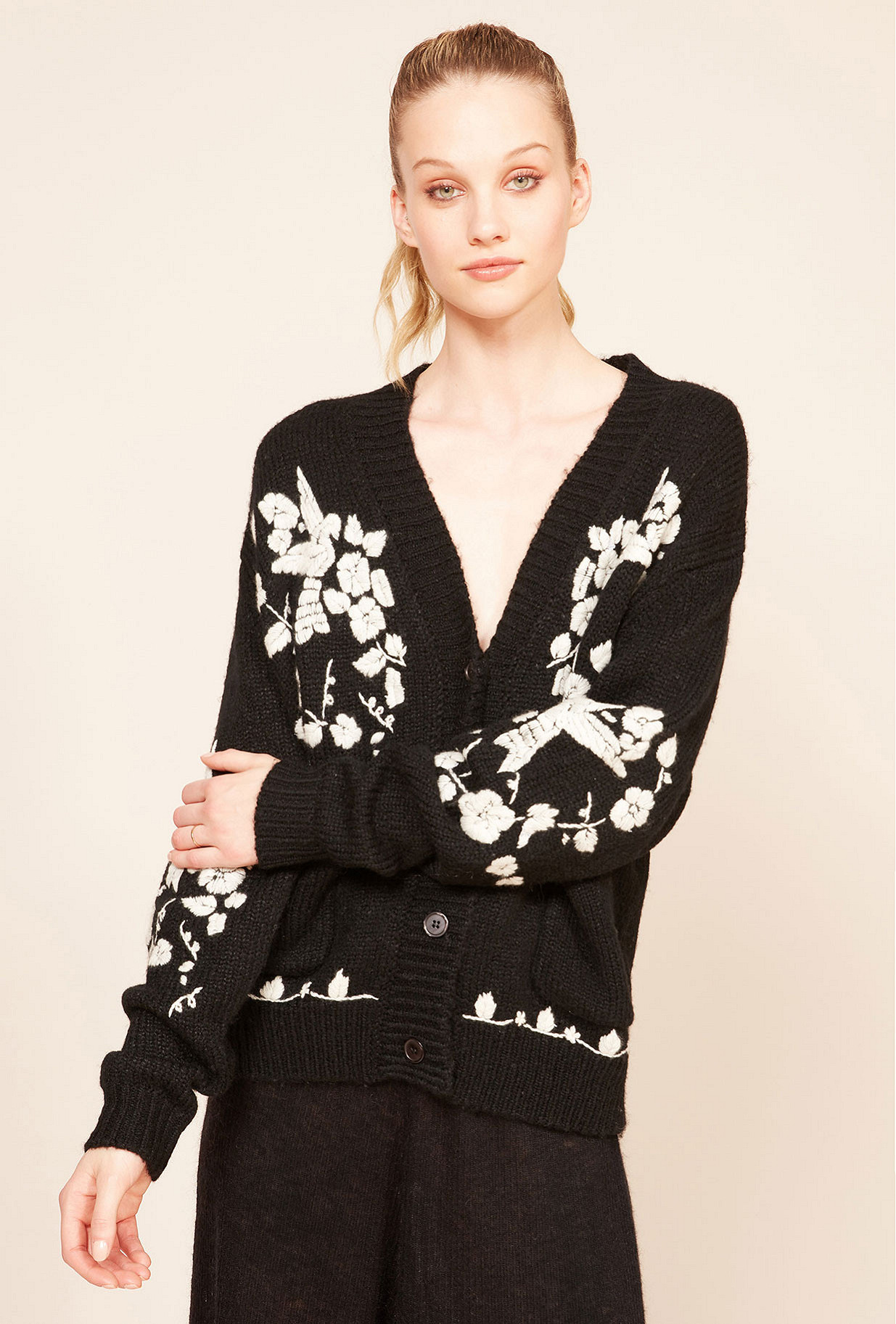 Black Cardigan Botanic Mes Demoiselles Paris