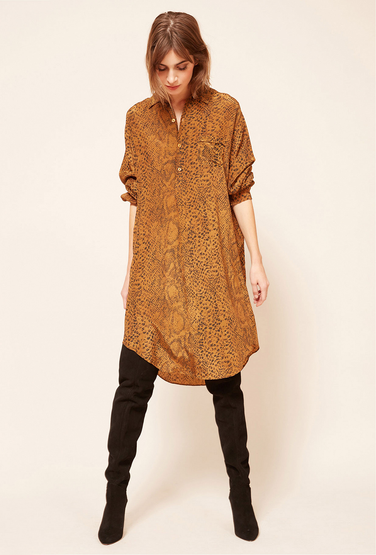 Ocre print  Shirt  Kaa Mes demoiselles fashion clothes designer Paris