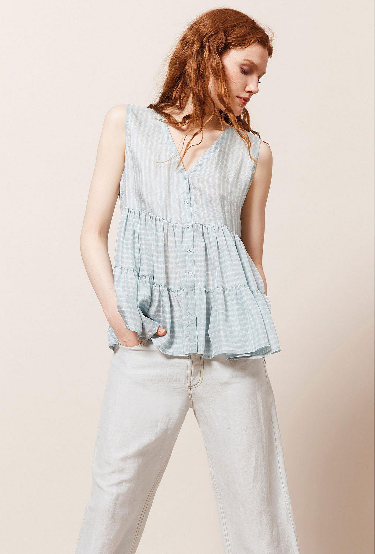 Blue stripe  Top  Jodha Mes demoiselles fashion clothes designer Paris